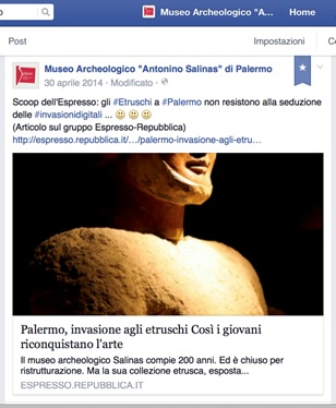 "Fig. 2: Post on Facebook sharing the article published on the magazine ""Espresso"" of Repubblica on the ""Etruscan in Palermo"" exhibition's renewed visibility."