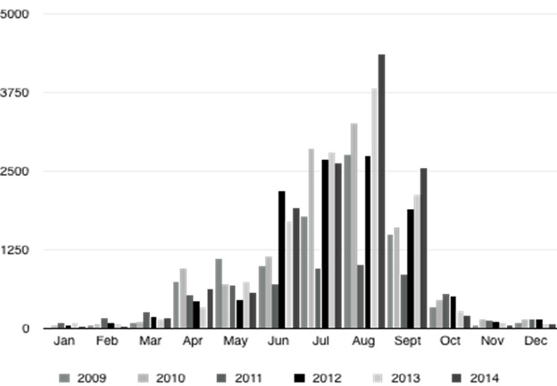 Figure 3: Arrivals in Menfi per month. Data: District of Agrigento