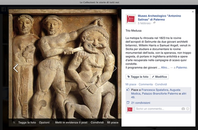 Fig. 4: Post on Facebook with the Metope portraying of Perseo severing the head of the Gorgon Medusa in the presence of Athena (originally from the Temple C of Selinunte, 530 b.C.)